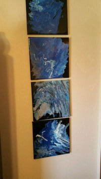 blue and white abstract painting Robins, 52328