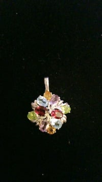 Sterling silver charms with multicolored gems