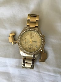 round gold Michael Kors chronograph watch with gold link bracelet Acton, L7J