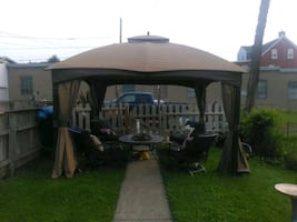 Gazebo with outdoor fan and lighting