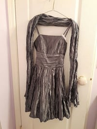 knee length silver spaghetti strap formal dress