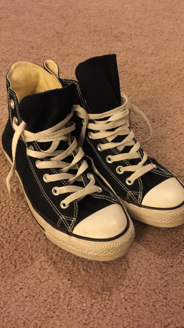 2a6d9c7b6c6b Used Black white converse all star sneakers high top for sale in Old Bridge  - letgo