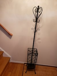 Iron Coat and Hat Rack with Umbrella Stand