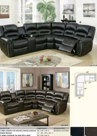 black leather sectional sofa collage Los Angeles
