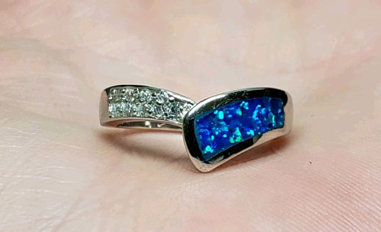 Photo Size 6 Opal Sterling Band Ring