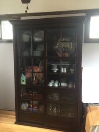 Brown wooden framed glass display cabinet Waterford, 48327