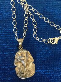 """Pharaoh pendant necklace 24 """" inch long rolo chain / Fine Silver plated necklace"""