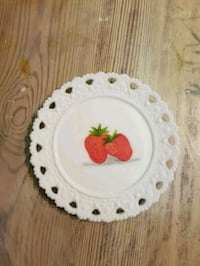 Strawberries handpainted on milk glass plate Purcellville, 20132