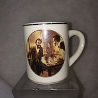 Vintage Coffee Cup portrait of Lincoln o