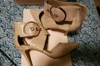 brown leather leather open toe ankle strap heels Chicago