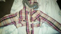 beige and pink checked button-up shirt