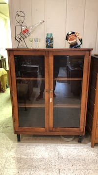 glass fromt book case solid wood