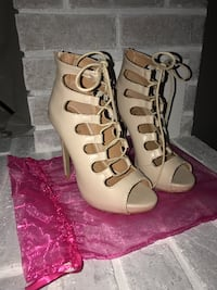 Lola Shoetique lace up nude heels Abbotsford