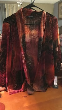Red and brown floral sheer  Florida, 32533