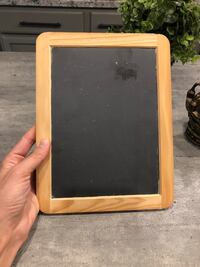 """Super cute chalkboard with wood edges. 9.75"""" x 7.5"""" approx $6"""