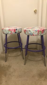 Two purple -and-pink floral padded stools Laurel, 20708