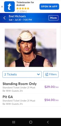2 Tickets -  Bret Michaels Unbroken World Tour  Las Vegas, 89147