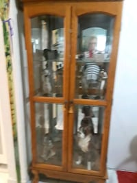 brown wooden framed glass display cabinet Miami Beach, 33141