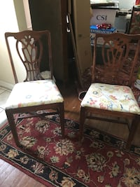 Two Mahogany dining room or extra chairs. Seats easy to remove if you want to recover.  Shaker Heights, 44120