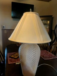 32 inch lamp with shade tones of mauve and blue  293 mi