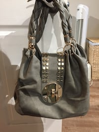 Grey leather hobo bag Dorval