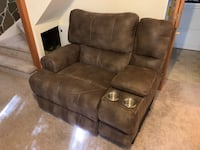 Brushed leather electric recliner Kensington, 20895