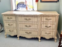 Antique white solid wood french provincial triple dresser Kensington