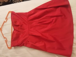 F21 med red strapless mini dress