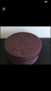 Hat box - wrapped in purple fabric