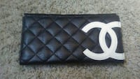black Chanel leather wallet