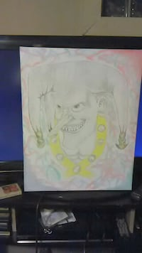 Hand drawn jester on canvas board Kenosha, 53140