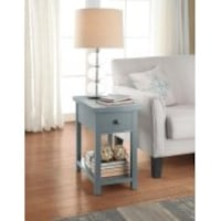 New Better Homes and Gardens Oxford Square End Table with Drawer, Blue