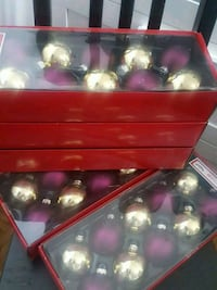 Gold and purple glass Christmas ornaments  Mississauga, L5B 4A9