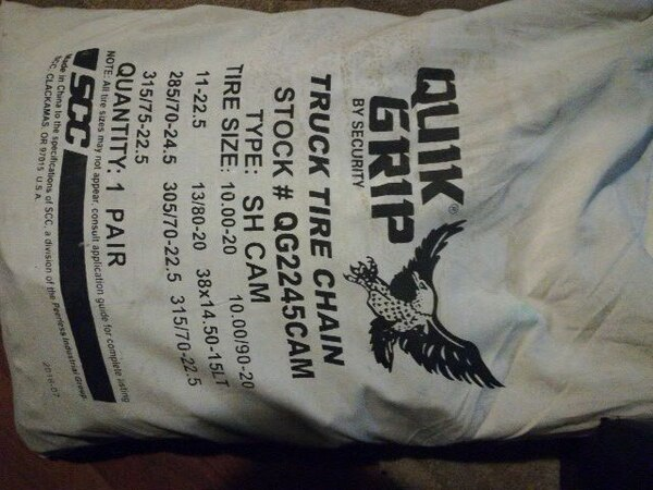 Quick grip tire chains brand new never used