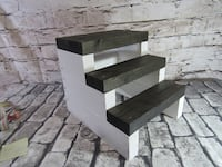 New Rustic Farmhouse Steps Ebony Black steps and White Base Mission