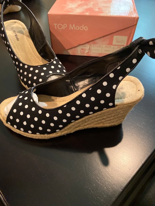 Top Moda black and white polka dot shoes (size 6) 2