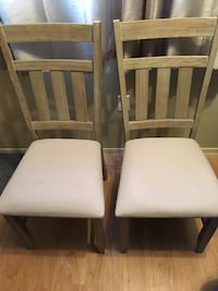 two white wooden padded chairs Calgary, T2W 1Y7