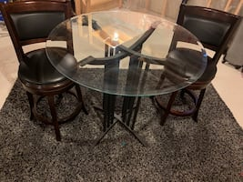 Glass Table and Leather Stools
