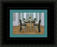 Counter height glass dining table with 4 chairs 69 km