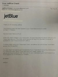 used jet blue plane ticket credit for sale in pompano beach letgo. Black Bedroom Furniture Sets. Home Design Ideas
