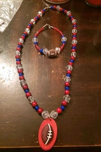 Red and blue football necklace set Virginia Beach, 23464