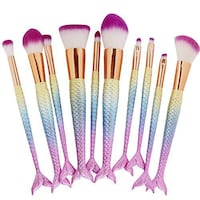 10 Pieces Mermaid Makeup Brushes Set New York, 11423