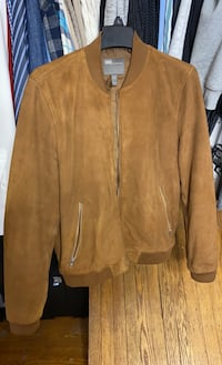 Tan calf suede leather jackect size small
