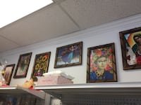 Three assorted paintings with brown wooden frames San Jose, 95112