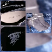 pair of brown suede wedge booties collage Toronto, M1R 2Z4