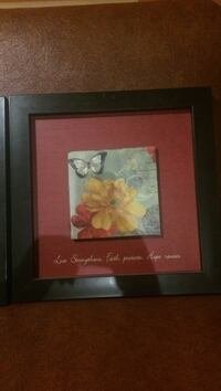 yellow and red flowers framed artwork