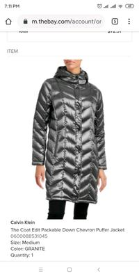 NWT Calvin Klein medium down jacket-color, silver Markham, L6C