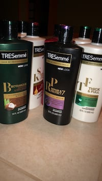 Several assorted-color tresemme hair care product bottles East Haven, 06512