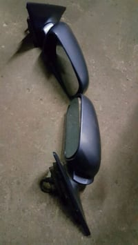 pair of black frame side mirrors