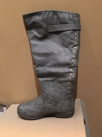 round-studded gray leather zip-back knee-high boot